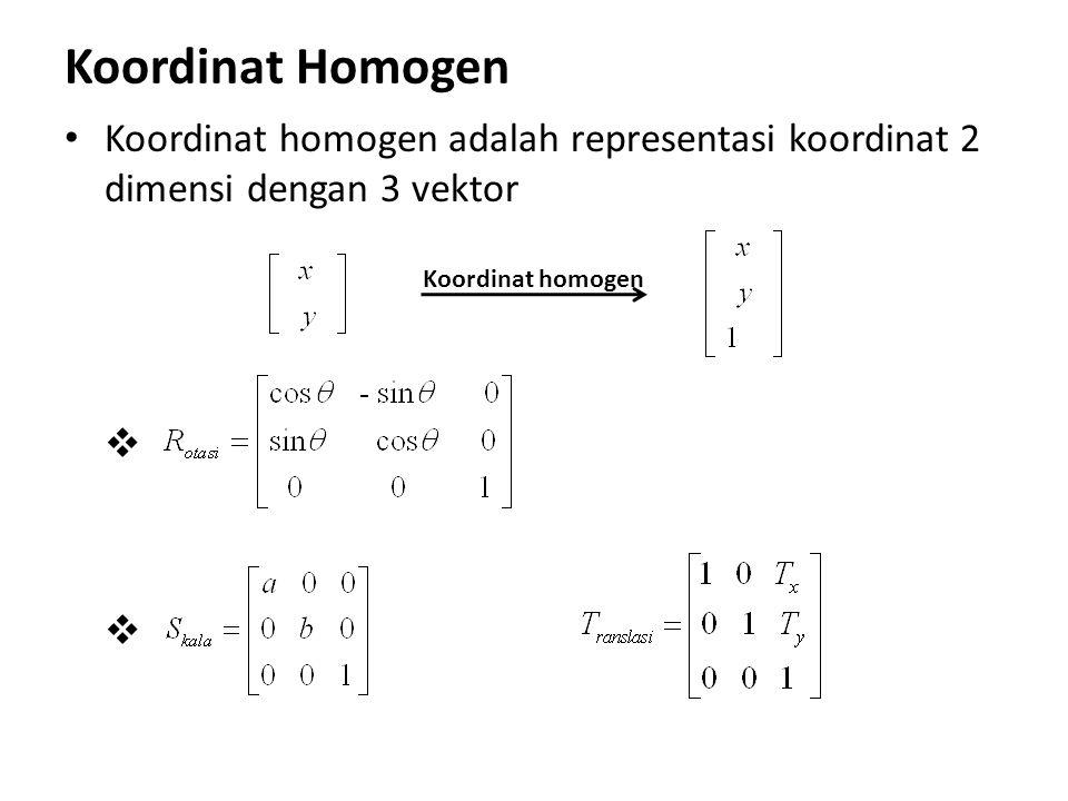 Koordinat Homogen Koordinat homogen adalah representasi koordinat 2 dimensi dengan 3 vektor   Koordinat homogen