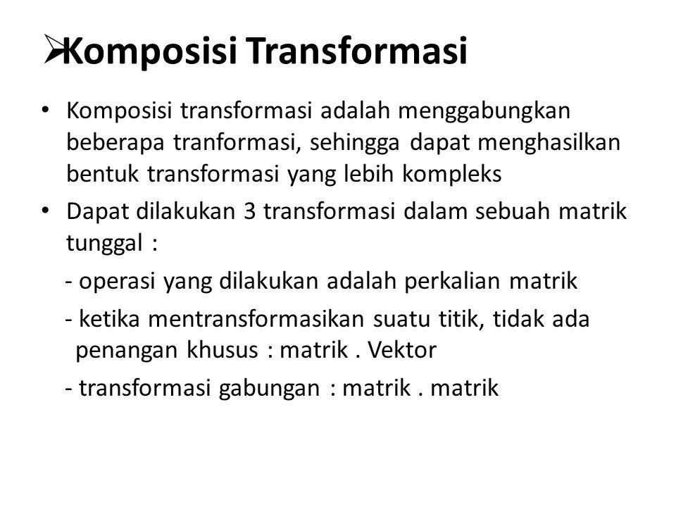  Komposisi Transformasi Komposisi transformasi adalah menggabungkan beberapa tranformasi, sehingga dapat menghasilkan bentuk transformasi yang lebih