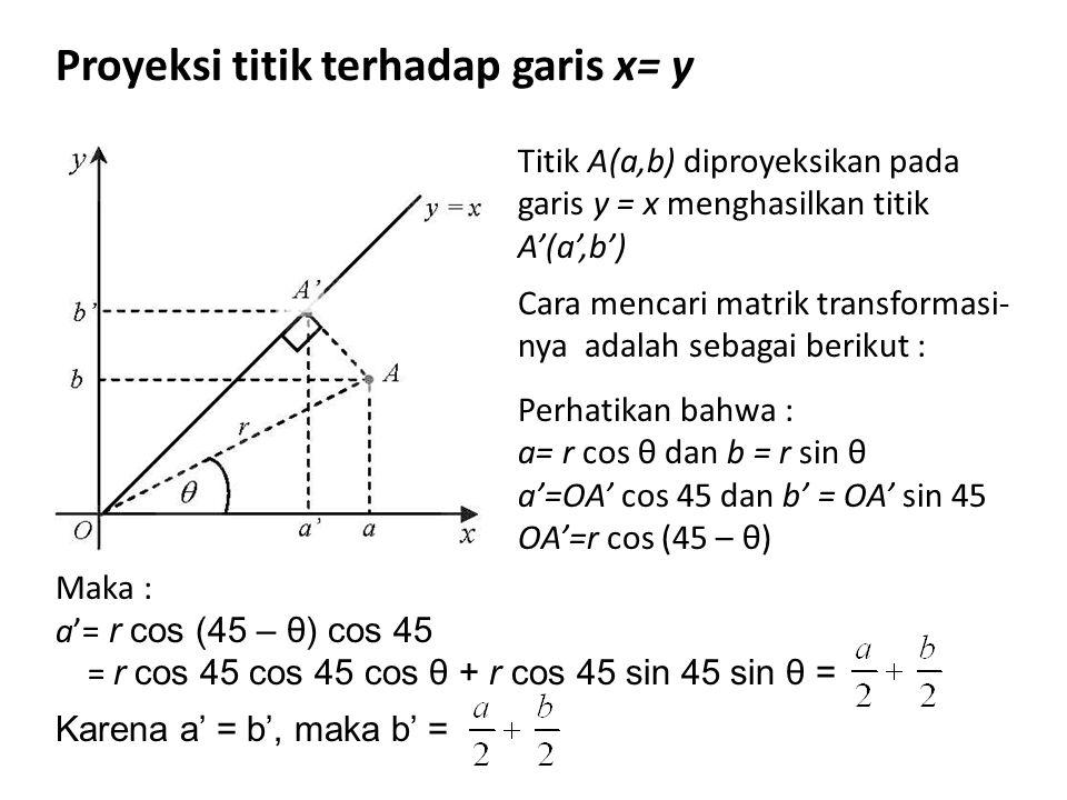 Proyeksi titik terhadap garis x= y Titik A(a,b) diproyeksikan pada garis y = x menghasilkan titik A'(a',b') Cara mencari matrik transformasi- nya adal