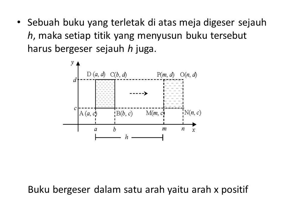Sebuah buku yang terletak di atas meja digeser sejauh h, maka setiap titik yang menyusun buku tersebut harus bergeser sejauh h juga.