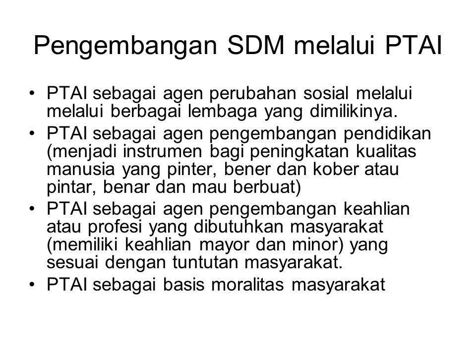 Pengembangan SDM melalui PTAI PTAI sebagai agen perubahan sosial melalui melalui berbagai lembaga yang dimilikinya.