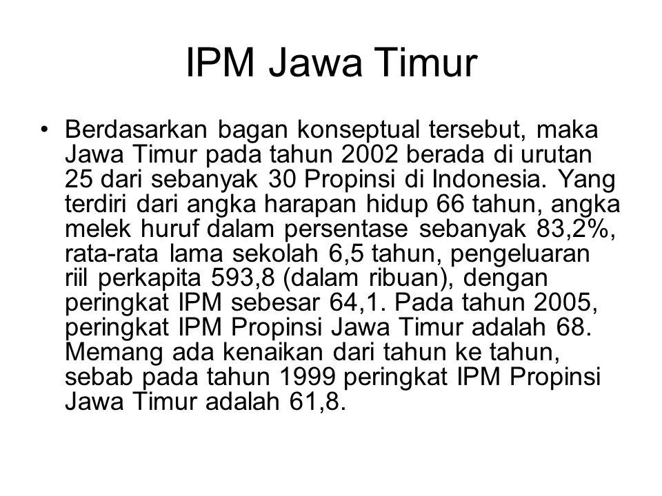 IPM Jawa Timur Berdasarkan bagan konseptual tersebut, maka Jawa Timur pada tahun 2002 berada di urutan 25 dari sebanyak 30 Propinsi di Indonesia.
