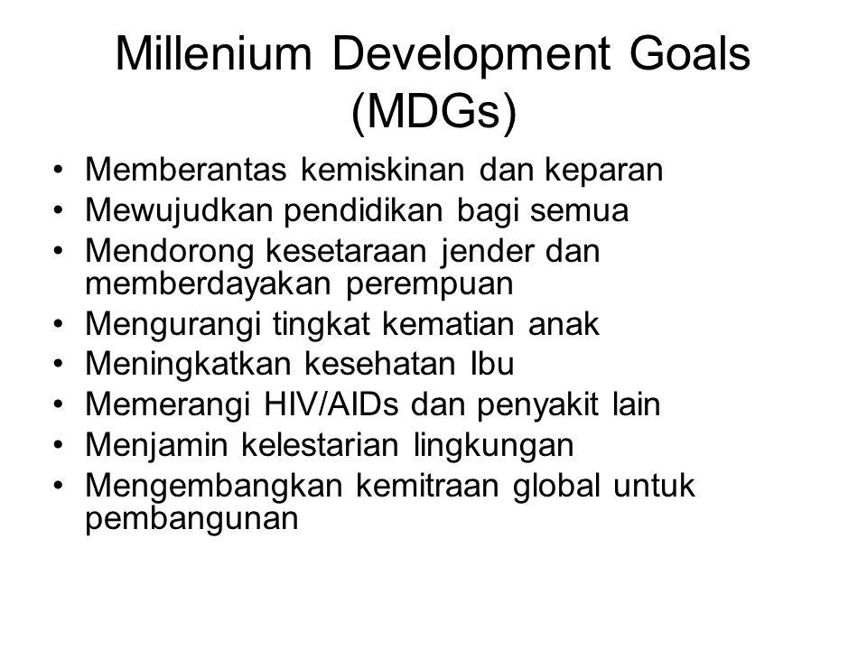 Millenium Development Goals (MDGs) Memberantas kemiskinan dan keparan Mewujudkan pendidikan bagi semua Mendorong kesetaraan jender dan memberdayakan perempuan Mengurangi tingkat kematian anak Meningkatkan kesehatan Ibu Memerangi HIV/AIDs dan penyakit lain Menjamin kelestarian lingkungan Mengembangkan kemitraan global untuk pembangunan