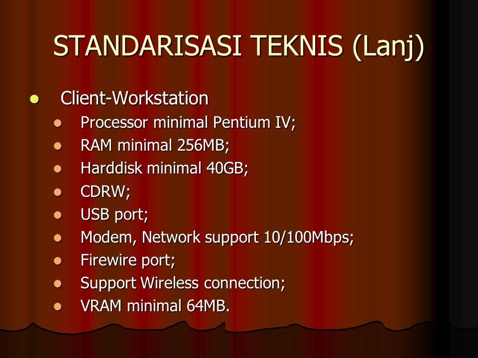 STANDARISASI TEKNIS (Lanj) Client-Workstation Client-Workstation Processor minimal Pentium IV; Processor minimal Pentium IV; RAM minimal 256MB; RAM mi