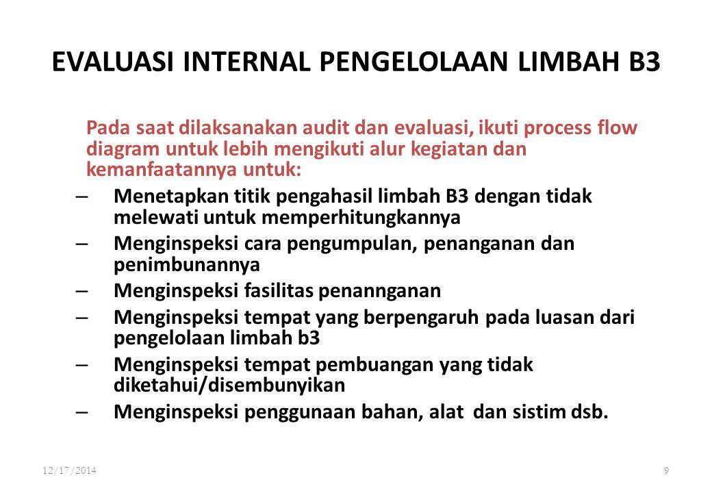 12/17/20148 EVALUASI INTERNAL PENGELOLAAN LIMBAH B3 Dokumentasikan hasil temuan dan informasi yang diperoleh untuk memudahkan pengkategorian tanggungj