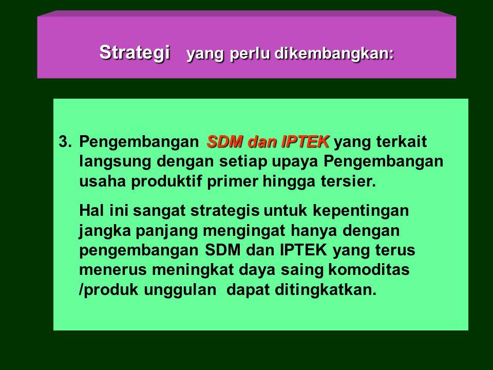 Strategi yang perlu dikembangkan Strategi yang perlu dikembangkan : –3. Pengembangan SDM dan IPTEK yang terkait langsung dengan setiap upaya pengemban