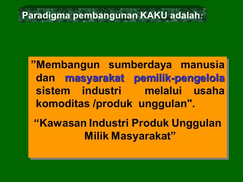 masyarakat pemilik-pengelola Membangun sumberdaya manusia dan masyarakat pemilik-pengelola sistem industri melalui usaha komoditas /produk unggulan .