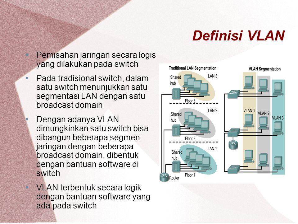 Definisi VLAN  Pemisahan jaringan secara logis yang dilakukan pada switch  Pada tradisional switch, dalam satu switch menunjukkan satu segmentasi LA