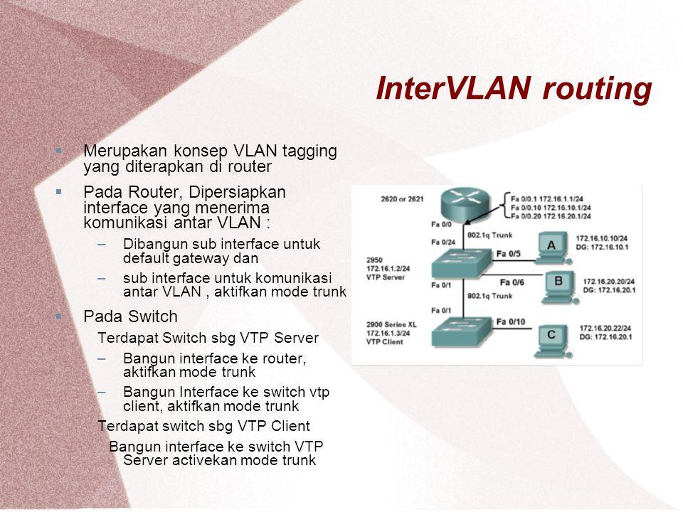 InterVLAN routing  Merupakan konsep VLAN tagging yang diterapkan di router  Pada Router, Dipersiapkan interface yang menerima komunikasi antar VLAN