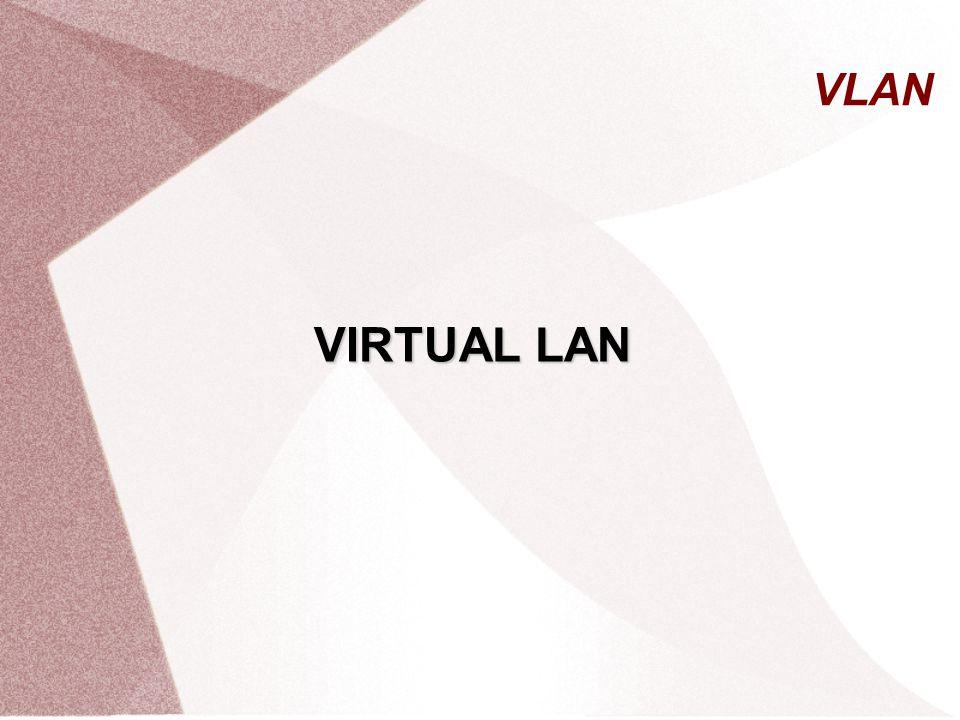 Manfaat VLAN  Tanpa VLAN untuk membangun 3 jaringan membutuhkan 3 switch  Dengan menggunkan VLAN untuk membangun 3 jaringan hanya membutuhkan 1 switch 1) Without VLANs 2) With VLANs 10.0.0.0/8 10.1.0.0/16 10.2.0.0/16 10.3.0.0/16 10.2.0.0/16 10.3.0.0/16