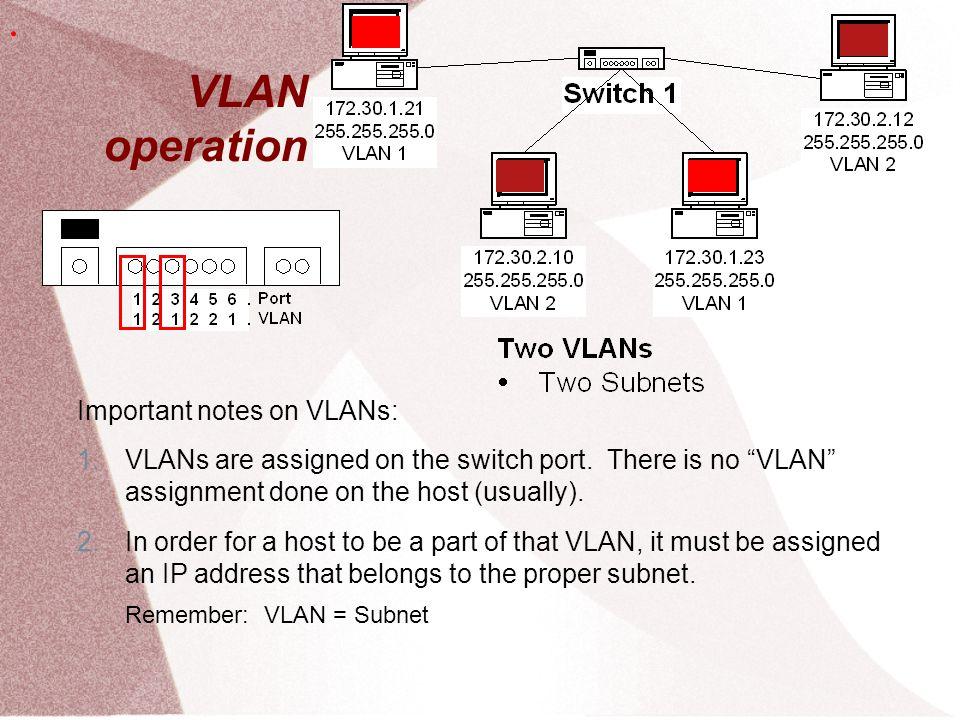 Creating VLANs  Untuk setipa switch bangun definisi VLAN S1(config)#vlan 10 S1(config-vlan)#name faculty/staff S1(config-vlan)#vlan 20 S1(config-vlan)#name student  KOnfigurasi masing-masing interface ke spesifik vlan Switch(config)#interface fastethernet 0/9 Switch(config-if)#switchport mode access Switch(config-if)#switchport access vlan 10.