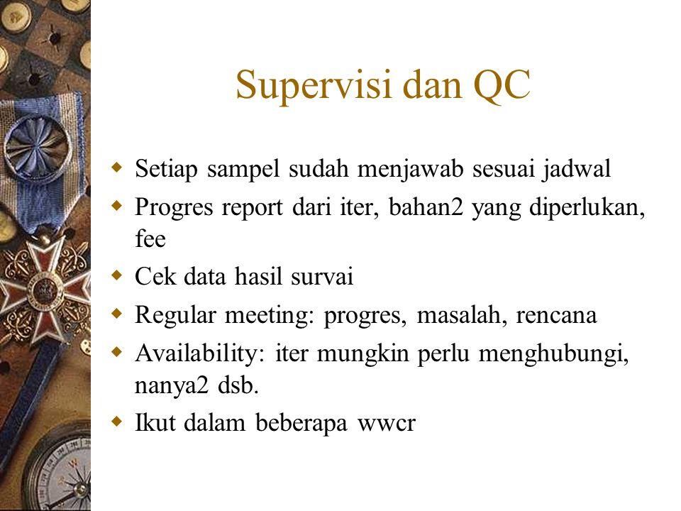 Supervisi dan QC  Setiap sampel sudah menjawab sesuai jadwal  Progres report dari iter, bahan2 yang diperlukan, fee  Cek data hasil survai  Regular meeting: progres, masalah, rencana  Availability: iter mungkin perlu menghubungi, nanya2 dsb.