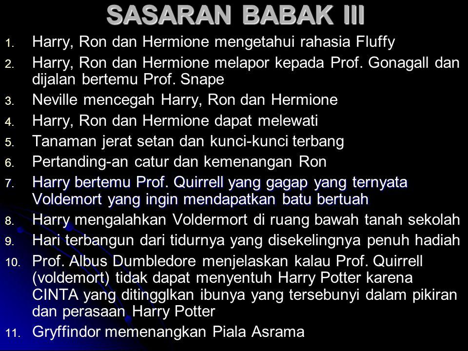 SASARAN BABAK III 1. 1. Harry, Ron dan Hermione mengetahui rahasia Fluffy 2.