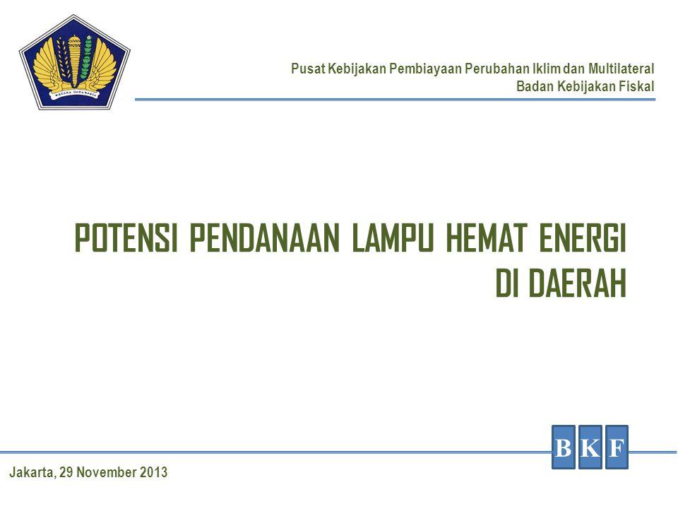 POTENSI PENDANAAN LAMPU HEMAT ENERGI DI DAERAH BKF Pusat Kebijakan Pembiayaan Perubahan Iklim dan Multilateral Badan Kebijakan Fiskal Jakarta, 29 Nove