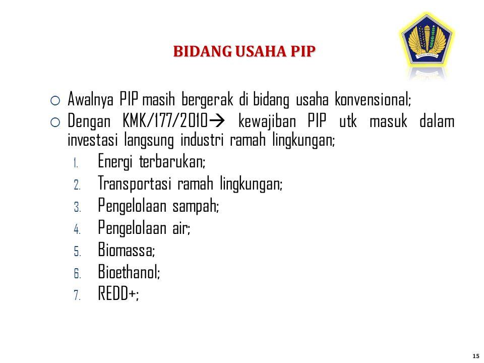 BIDANG USAHA PIP 15  Awalnya PIP masih bergerak di bidang usaha konvensional;  Dengan KMK/177/2010  kewajiban PIP utk masuk dalam investasi langsun