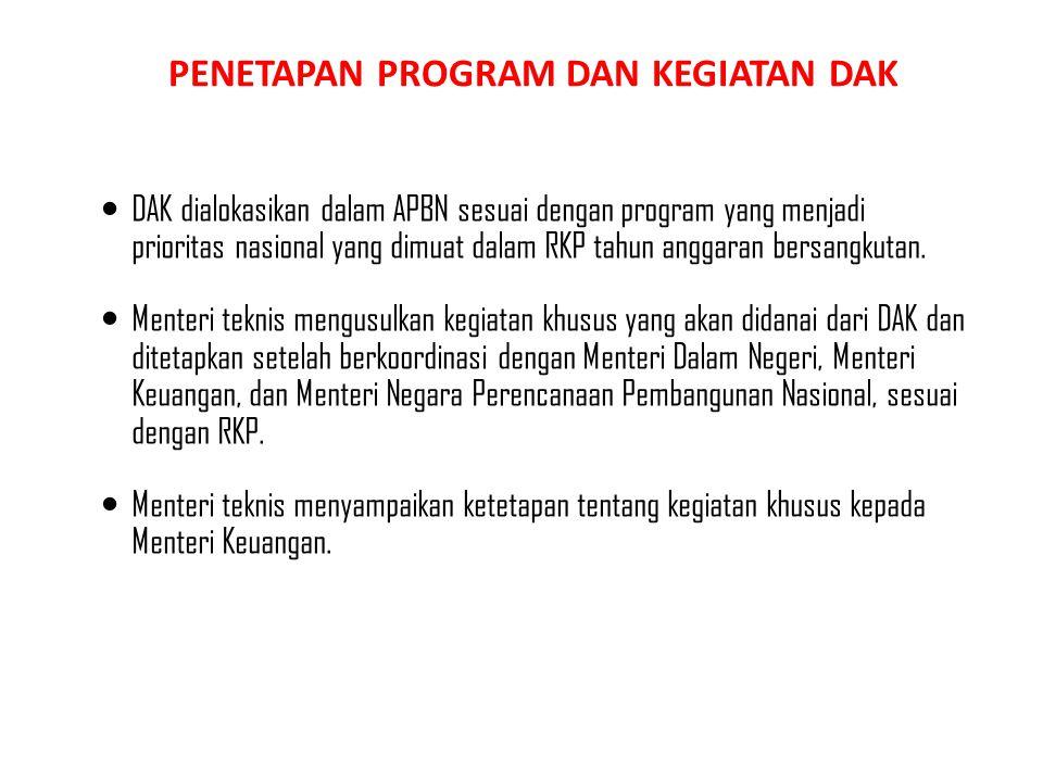 PENETAPAN PROGRAM DAN KEGIATAN DAK DAK dialokasikan dalam APBN sesuai dengan program yang menjadi prioritas nasional yang dimuat dalam RKP tahun angga