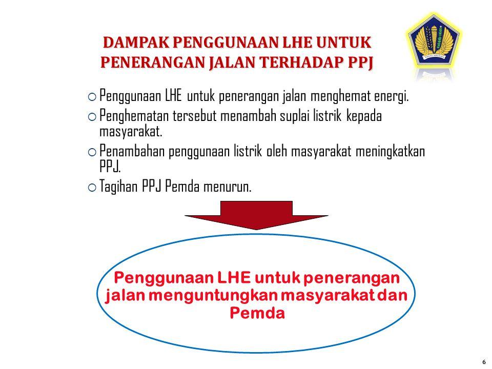  Penggunaan LHE untuk penerangan jalan menghemat energi.  Penghematan tersebut menambah suplai listrik kepada masyarakat.  Penambahan penggunaan li