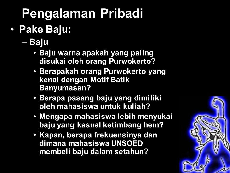 Pengalaman Pribadi Pake Baju: –Baju Baju warna apakah yang paling disukai oleh orang Purwokerto.