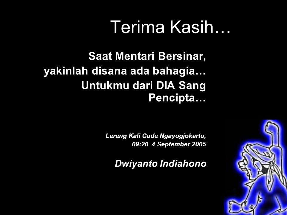 Terima Kasih… Saat Mentari Bersinar, yakinlah disana ada bahagia… Untukmu dari DIA Sang Pencipta… Lereng Kali Code Ngayogjokarto, 09:20 4 September 2005 Dwiyanto Indiahono