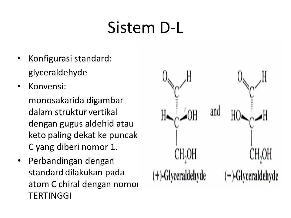 Sistem D-L Konfigurasi standard: glyceraldehyde Konvensi: monosakarida digambar dalam struktur vertikal dengan gugus aldehid atau keto paling dekat ke