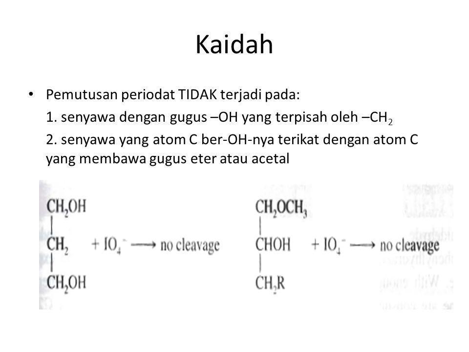 Kaidah Pemutusan periodat TIDAK terjadi pada: 1. senyawa dengan gugus –OH yang terpisah oleh –CH 2 2. senyawa yang atom C ber-OH-nya terikat dengan at