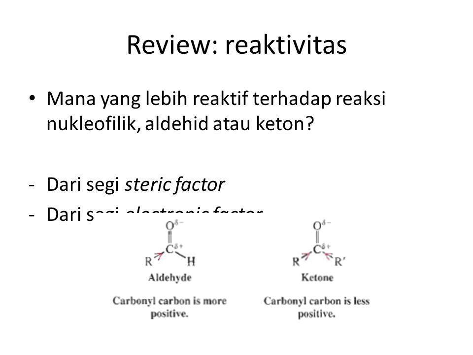 Review: reaktivitas Mana yang lebih reaktif terhadap reaksi nukleofilik, aldehid atau keton? -Dari segi steric factor -Dari segi electronic factor