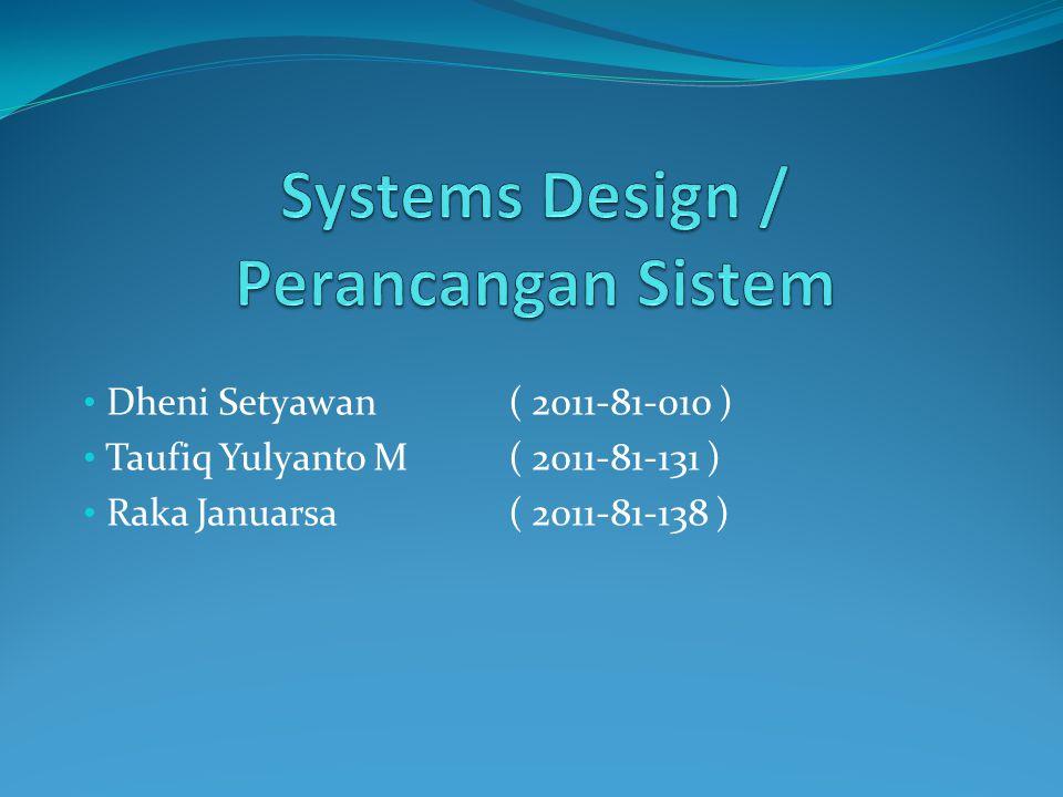 Langkah-langkah Desain Input 1.Menentukan kebutuhan input dari sistem baru 2.