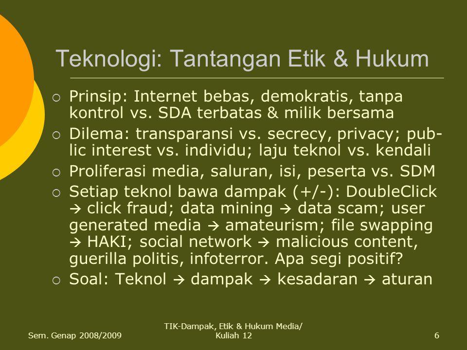 Sem. Genap 2008/2009 TIK-Dampak, Etik & Hukum Media/ Kuliah 126 Teknologi: Tantangan Etik & Hukum  Prinsip: Internet bebas, demokratis, tanpa kontrol
