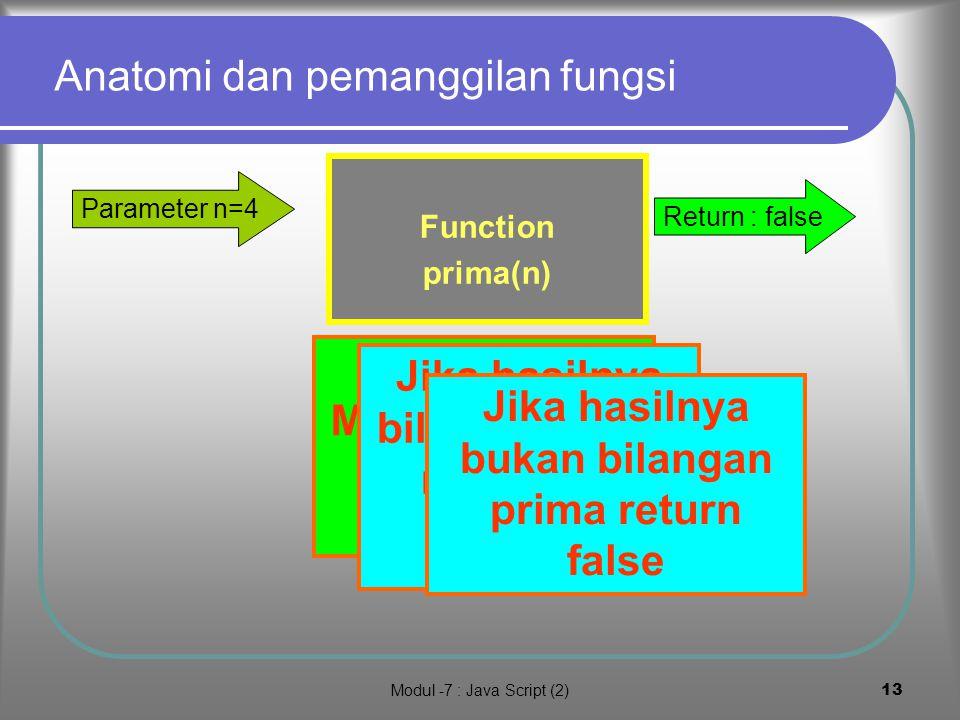 Modul -7 : Java Script (2)12 Penerapan untuk mennetukan bilangan prima <500 demo