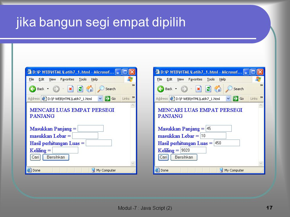 Modul -7 : Java Script (2)16 Latihan 1.