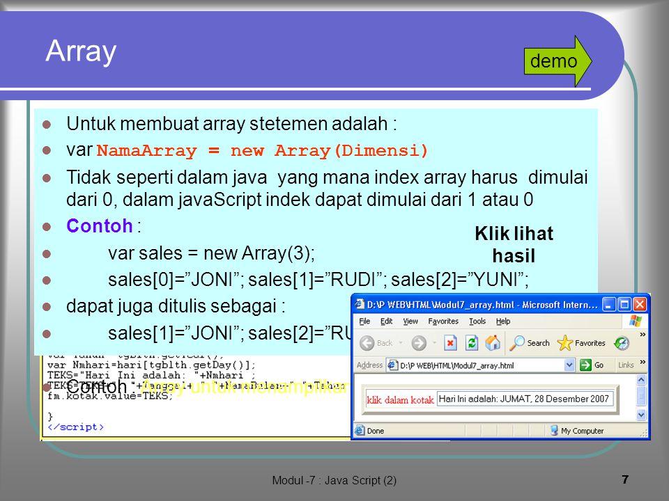Modul -7 : Java Script (2)6 3.