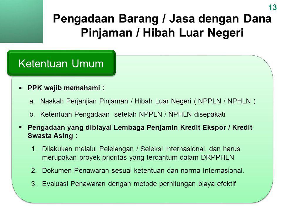  PPK wajib memahami : a.Naskah Perjanjian Pinjaman / Hibah Luar Negeri ( NPPLN / NPHLN ) b.Ketentuan Pengadaan setelah NPPLN / NPHLN disepakati  Pen