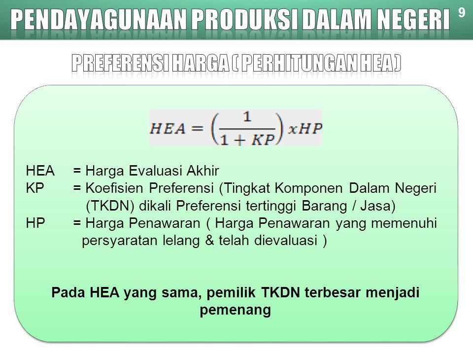 HEA= Harga Evaluasi Akhir KP= Koefisien Preferensi (Tingkat Komponen Dalam Negeri (TKDN) dikali Preferensi tertinggi Barang / Jasa) HP = Harga Penawar