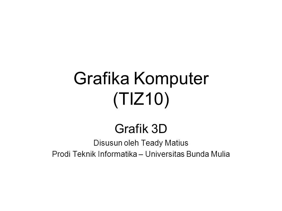 Grafika Komputer (TIZ10) Grafik 3D Disusun oleh Teady Matius Prodi Teknik Informatika – Universitas Bunda Mulia