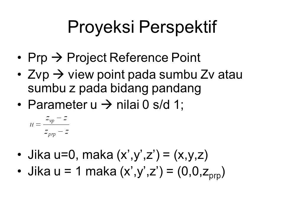 Prp  Project Reference Point Zvp  view point pada sumbu Zv atau sumbu z pada bidang pandang Parameter u  nilai 0 s/d 1; Jika u=0, maka (x',y',z') =