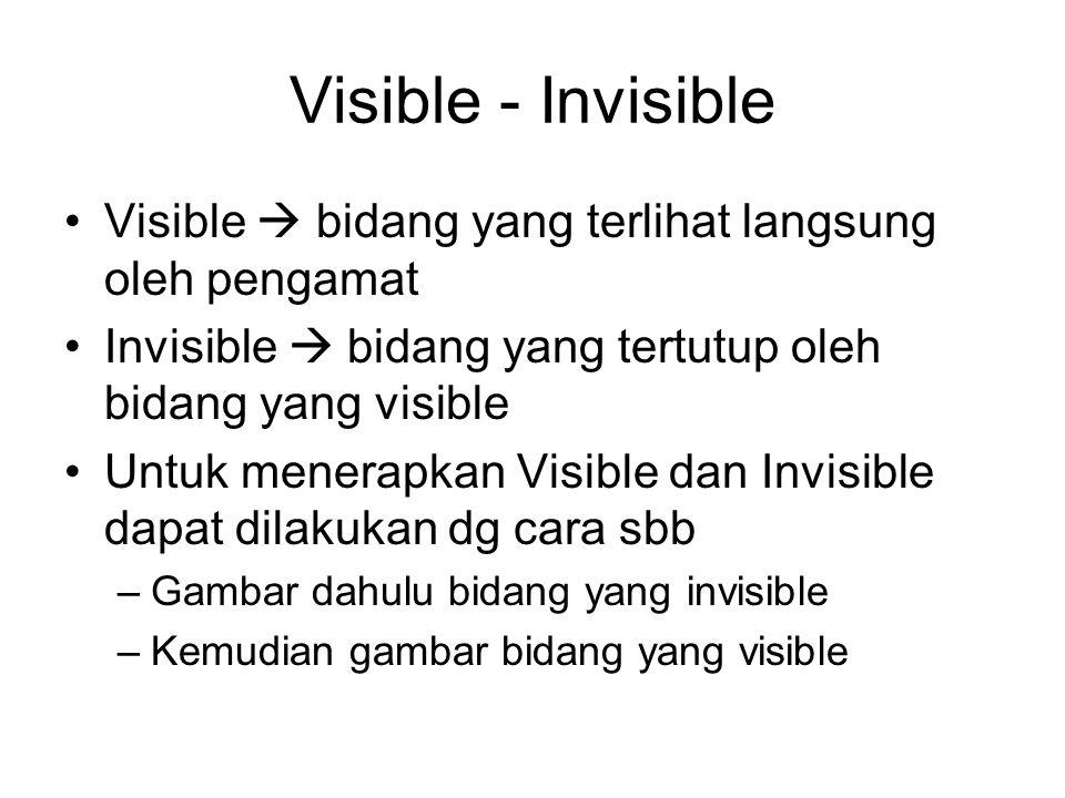Visible - Invisible Visible  bidang yang terlihat langsung oleh pengamat Invisible  bidang yang tertutup oleh bidang yang visible Untuk menerapkan Visible dan Invisible dapat dilakukan dg cara sbb –Gambar dahulu bidang yang invisible –Kemudian gambar bidang yang visible