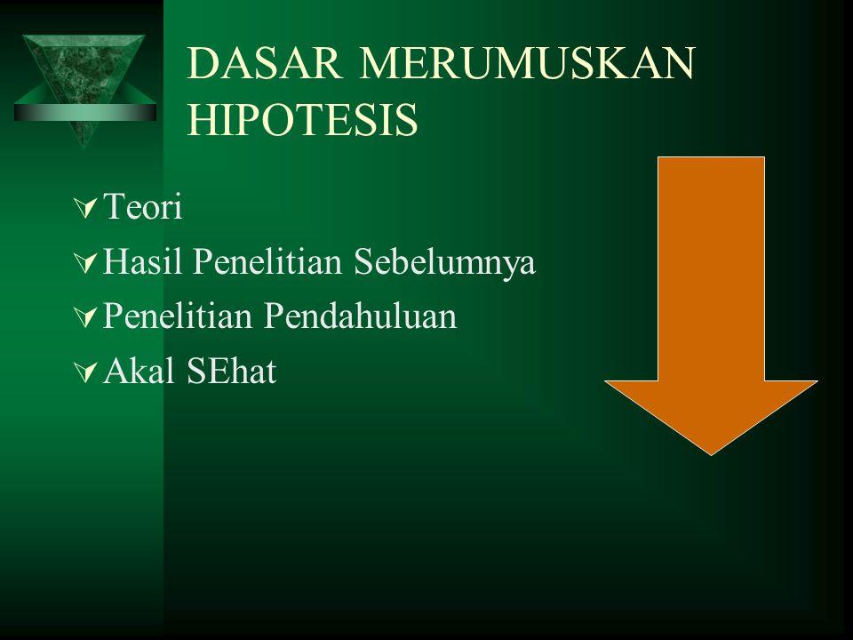 Hipotesis  Hipotesis memuat pernyataan singkat yang disimpulkan dari landasan teori atau tinjauan pustaka dan merupakan jawaban sementara (dugaan) te