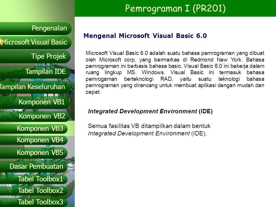 Pemrograman I (PR201) Microsoft Visual Basic Tampilan IDE Tipe Projek Pengenalan Tampilan Keseluruhan Komponen VB1 Komponen VB2 Komponen VB3 Komponen VB4 Komponen VB5 Dasar Pembuatan Tabel Toolbox1 Tabel Toolbox2 Tabel Toolbox3 Istilah – istilah pada VB Events Adalah aktifitas yang terjadi saat menggunakan.