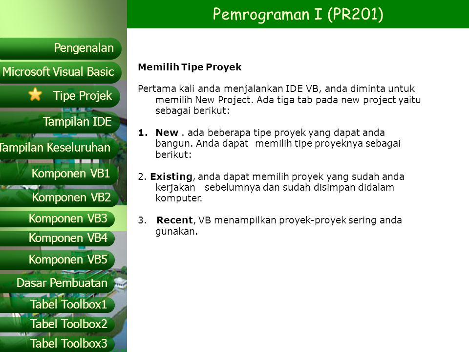 Pemrograman I (PR201) Microsoft Visual Basic Tampilan IDE Tipe Projek Pengenalan Tampilan Keseluruhan Komponen VB1 Komponen VB2 Komponen VB3 Komponen VB4 Komponen VB5 Dasar Pembuatan Tabel Toolbox1 Tabel Toolbox2 Tabel Toolbox3 Tipe – tipe File pada Visual Basic.VBPFile.VBP untuk tiap project..FRMFile.FRM untuk tiap form aplikasi pada sebuah project..VBX.OCXFile.VBX atau.OCX untuk tiap custom control pada sebuah project..BASFile.BAS untuk tiap modul standar pada sebuah project..CLSFile.CLS untuk tiap modul class pada sebuah project..FRXFile.FRX untuk tiap form pada sebuah proyek yang memiliki control berproperti menggunakan data binary..RESFile.RES yaitu sebuah resource file pada sebuah project.