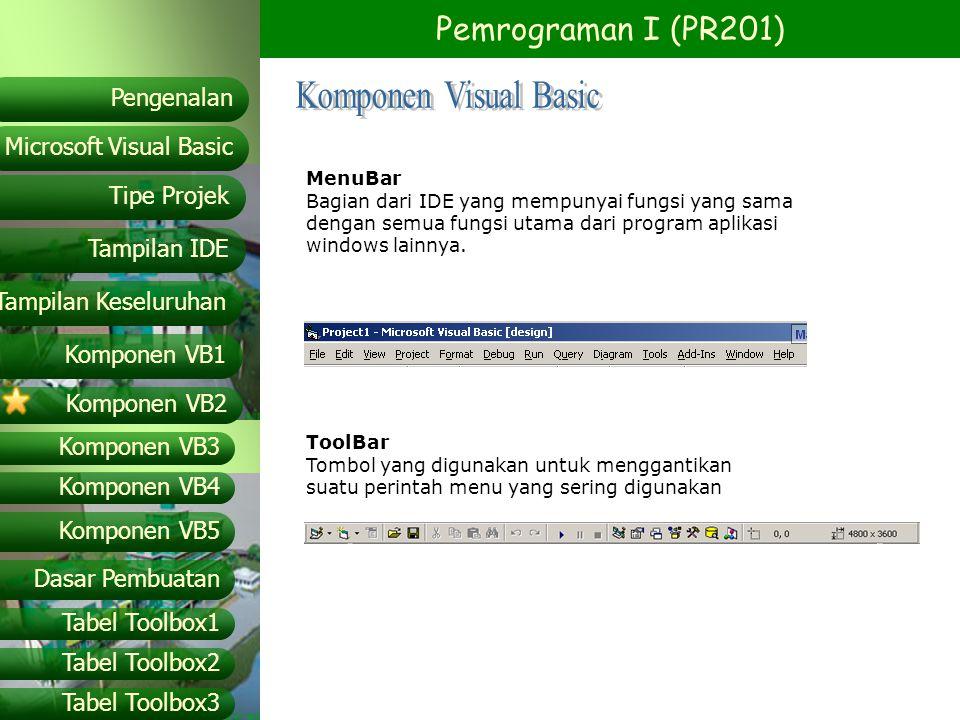 Pemrograman I (PR201) Microsoft Visual Basic Tampilan IDE Tipe Projek Pengenalan Tampilan Keseluruhan Komponen VB1 Komponen VB2 Komponen VB3 Komponen VB4 Komponen VB5 Dasar Pembuatan Tabel Toolbox1 Tabel Toolbox2 Tabel Toolbox3 Daftar Object Prefix PrefiksObject ImlImageList KeyKey status LblLabel LinLine Lst List box LsvListView MedMaskedEdit MciMultimedia MCI MnuMenu MpmMAPI message MpsMAPI session OleOLE Container Opt Option button Opt33-D Option button