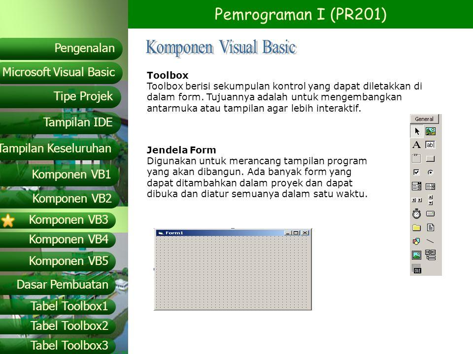 Pemrograman I (PR201) Microsoft Visual Basic Tampilan IDE Tipe Projek Pengenalan Tampilan Keseluruhan Komponen VB1 Komponen VB2 Komponen VB3 Komponen VB4 Komponen VB5 Dasar Pembuatan Tabel Toolbox1 Tabel Toolbox2 Tabel Toolbox3 Daftar Object Prefix PrefiksObject OtlOutline PicPicture Pnl3-D Panel PrbProgressBar RtbRichTextBox ShpShape SliSlide Spn Spin button SstSSTab dialog StbStatusBar TbsTabstrip TmrTimer