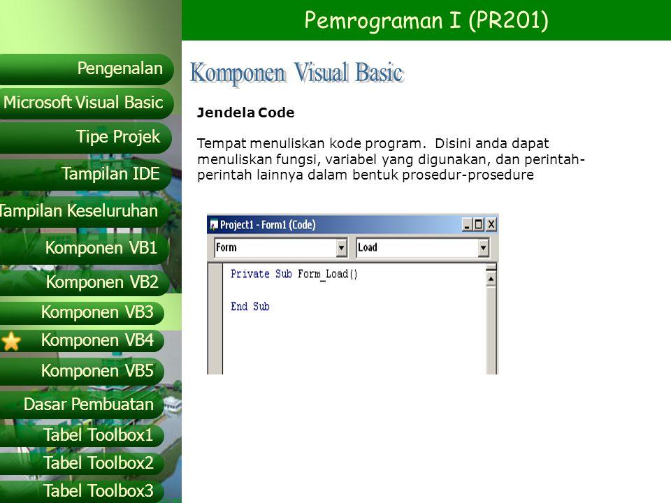 Pemrograman I (PR201) Microsoft Visual Basic Tampilan IDE Tipe Projek Pengenalan Tampilan Keseluruhan Komponen VB1 Komponen VB2 Komponen VB3 Komponen VB4 Komponen VB5 Dasar Pembuatan Tabel Toolbox1 Tabel Toolbox2 Tabel Toolbox3 Project Explorer Windows yang berisi nama project dan nama form yang ada pada Microsoft Visual Basic.