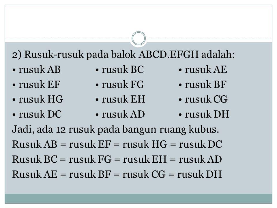2) Rusuk-rusuk pada balok ABCD.EFGH adalah: rusuk AB rusuk BC rusuk AE rusuk EF rusuk FG rusuk BF rusuk HG rusuk EH rusuk CG rusuk DC rusuk AD rusuk DH Jadi, ada 12 rusuk pada bangun ruang kubus.