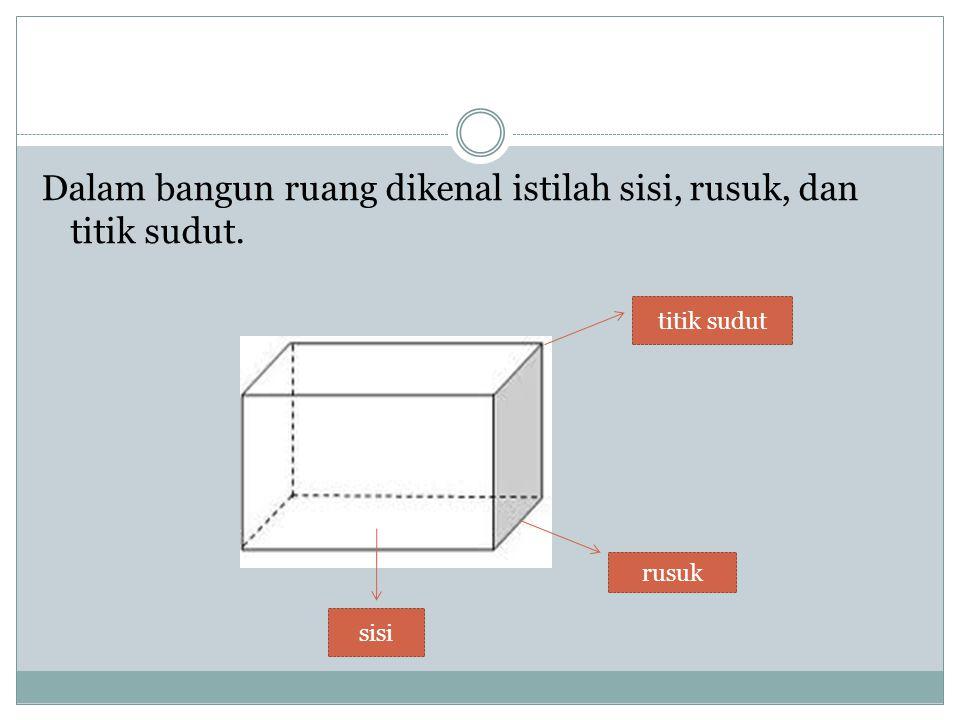 Dalam bangun ruang dikenal istilah sisi, rusuk, dan titik sudut. sisi rusuk titik sudut