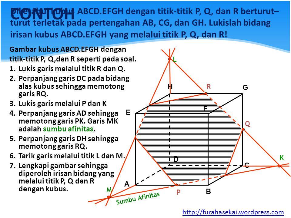 CONTOH Diketahui kubus ABCD.EFGH dengan titik-titik P, Q, dan R berturut– turut terletak pada pertengahan AB, CG, dan GH. Lukislah bidang irisan kubus