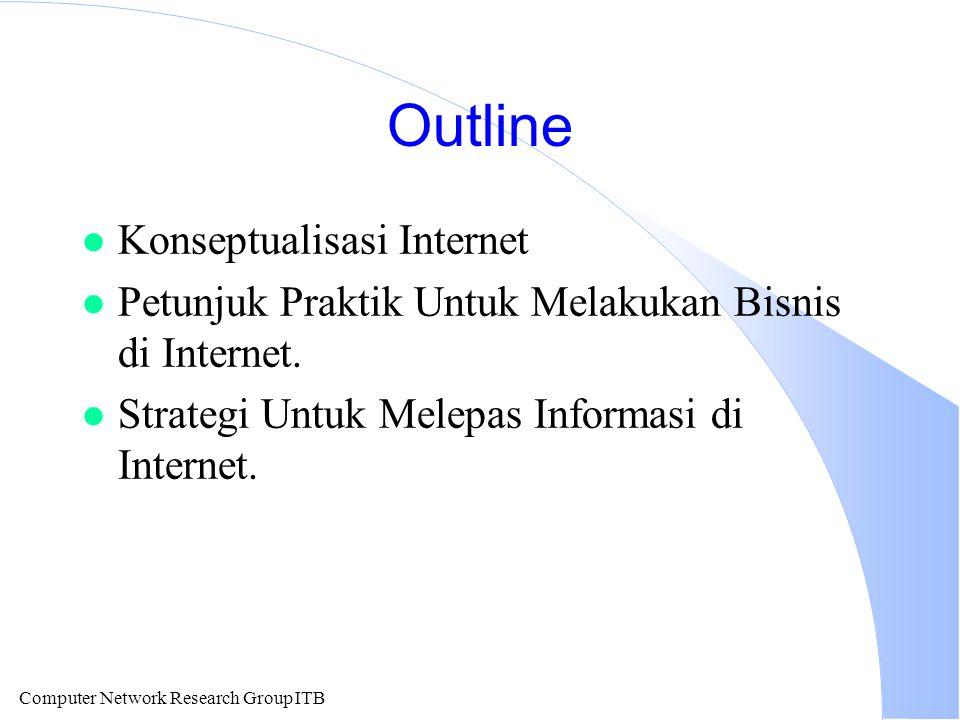 Computer Network Research Group ITB Outline l Konseptualisasi Internet l Petunjuk Praktik Untuk Melakukan Bisnis di Internet. l Strategi Untuk Melepas