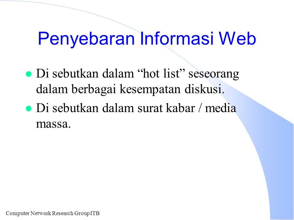 """Computer Network Research Group ITB Penyebaran Informasi Web l Di sebutkan dalam """"hot list"""" seseorang dalam berbagai kesempatan diskusi. l Di sebutkan"""