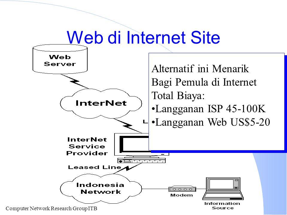 Computer Network Research Group ITB Web di Internet Site Alternatif ini Menarik Bagi Pemula di Internet Total Biaya: Langganan ISP 45-100K Langganan W