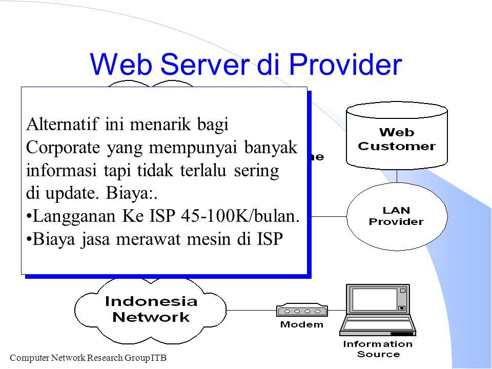 Computer Network Research Group ITB Web Server di Provider Alternatif ini menarik bagi Corporate yang mempunyai banyak informasi tapi tidak terlalu se