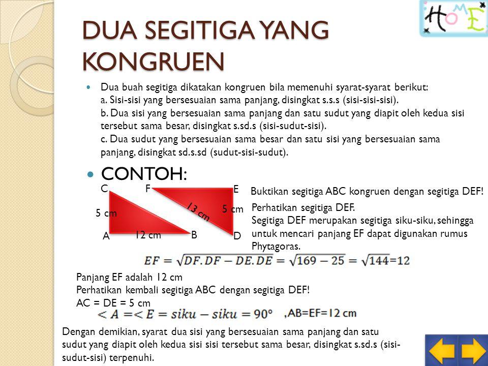 DUA SEGITIGA YANG KONGRUEN Dua buah segitiga dikatakan kongruen bila memenuhi syarat-syarat berikut: a.